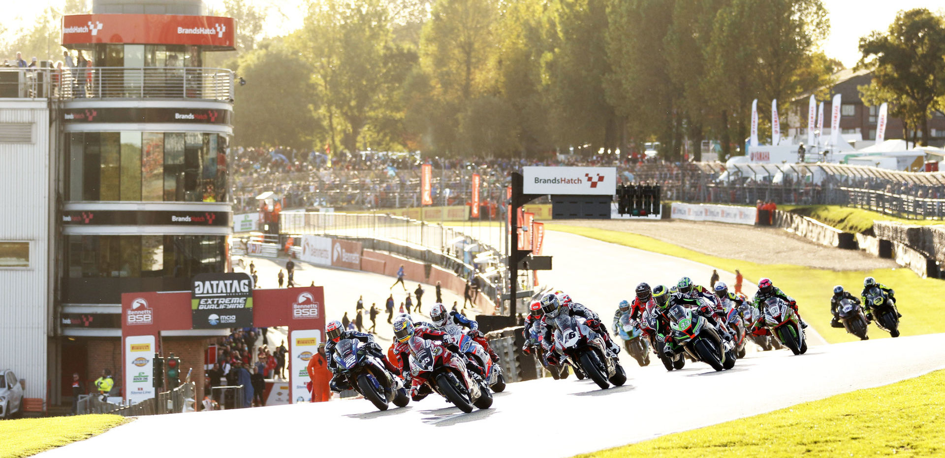 The start of British Superbike Race One at Brands Hatch. Photo courtesy of MotorSport Vision Racing.