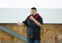 Michael Kitchens, CEO of Build The Track, LLC. during a presentation of Circuit Hawaii. Photo courtesy of BTT, LLC.