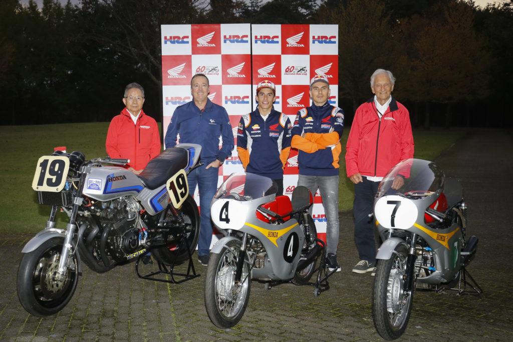 (From left) Kunimitsu Takahashi, Freddie Spencer, Marc Marquez, Jorge Lorenzo, and Jim Redman. Photo courtesy of Dorna.