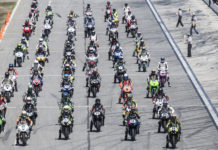 The starting grid of the Daytona 200 in 2017. Photo by Brian J. Nelson.