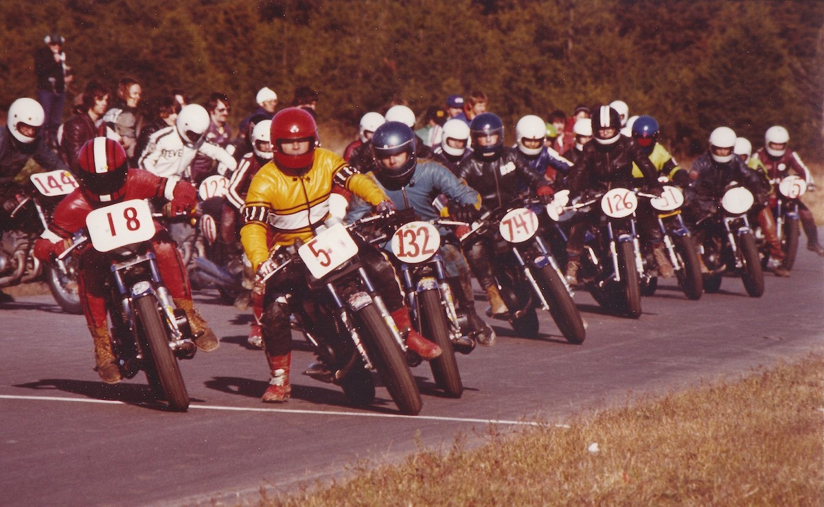 In Shannonville Motorsport Park's first full year of operation, 1977, the track known as Nelson International Raceway hosted a wide range of motorcycle events: Here a Le Mans start for the popular Junior 410cc Production category. Photo: Colin Fraser, courtesy of PMP.