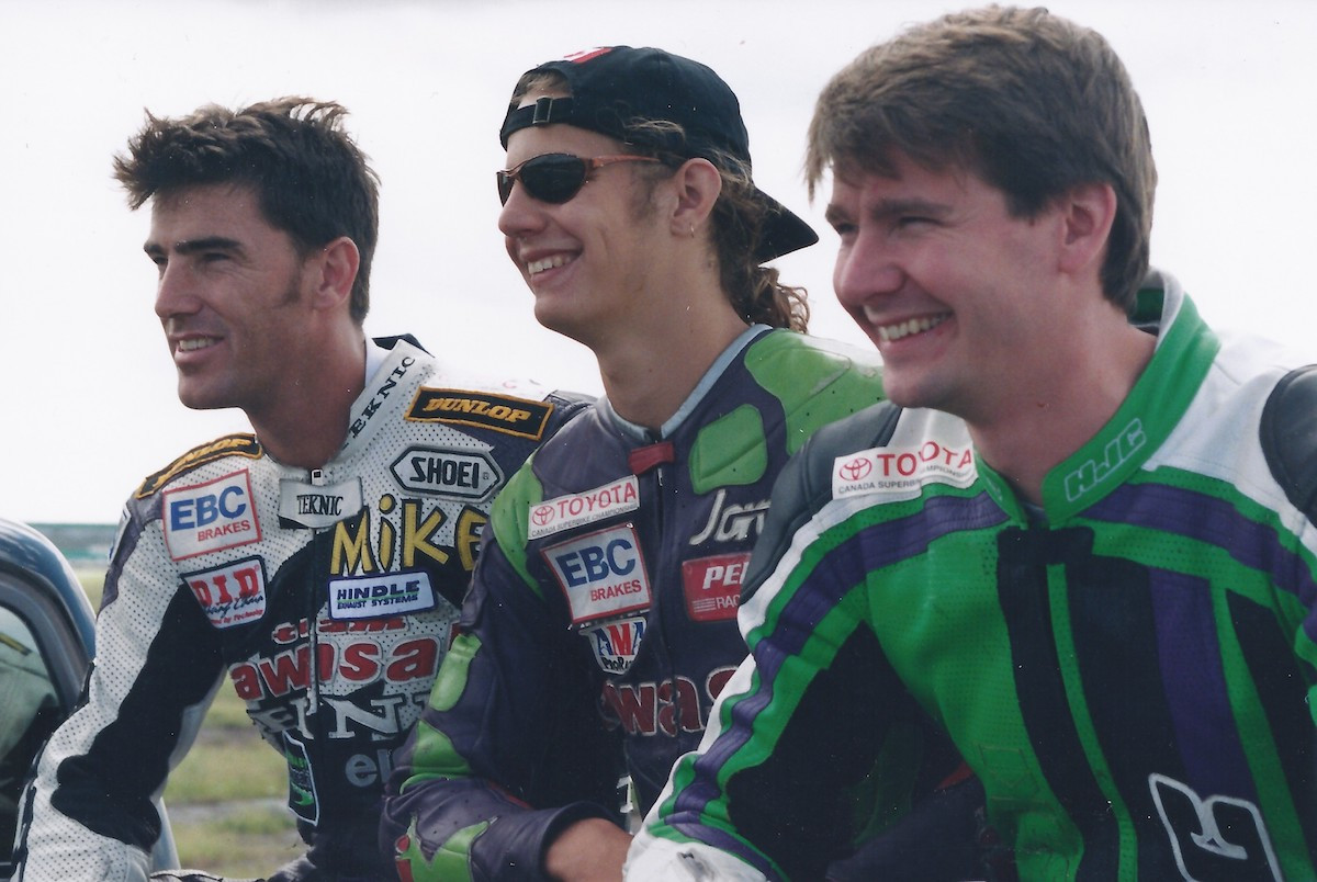 Canadian Superbike stars (from left) Michael Taylor, Jordan Szoke and Don Munroe pose prior to the final CSBK National of 1998 at Shannonville, when all three had a shot a the title won by Szoke. The trio will be joined by several other overall National number one plate holders at the November Second 14th annual Hall of Fame Banquet and Reunion in Toronto, Ontario. Photo by Colin Fraser, courtesy of Canadian Motorcycle Hall Of Fame.