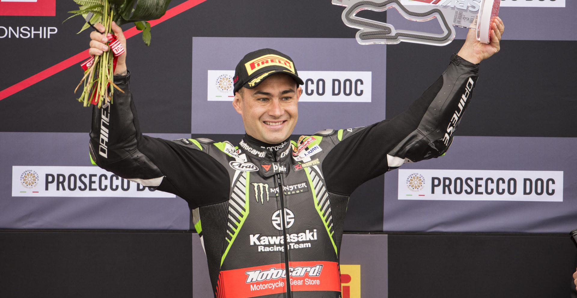 Leon Haslam on the World Superbike podium at Donington Park.