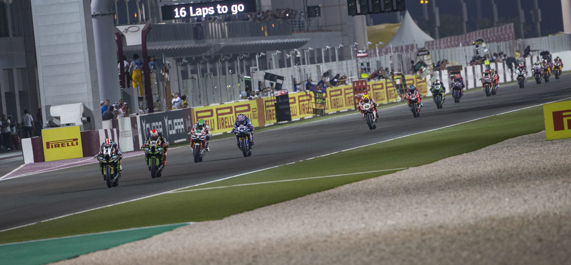 Action from World Superbike Race One in Qatar in 2018. Photo courtesy of Dorna WorldSBK Press Office.
