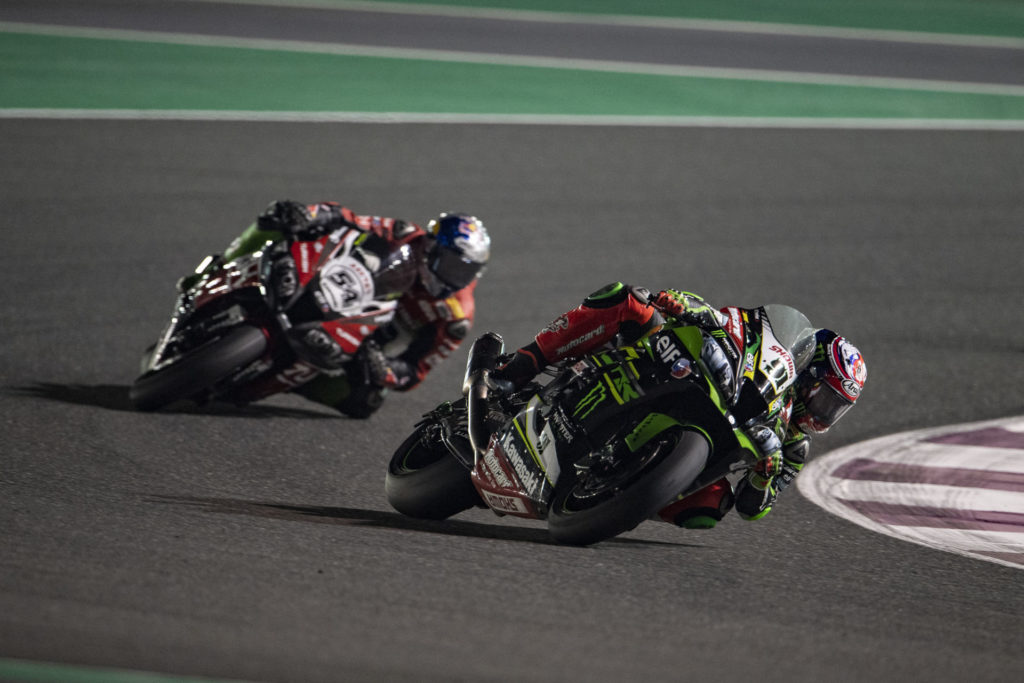 Leon Haslam (91) leading Toprak Razgatlioglu (54) during Race One. Photo courtesy of Kawasaki.