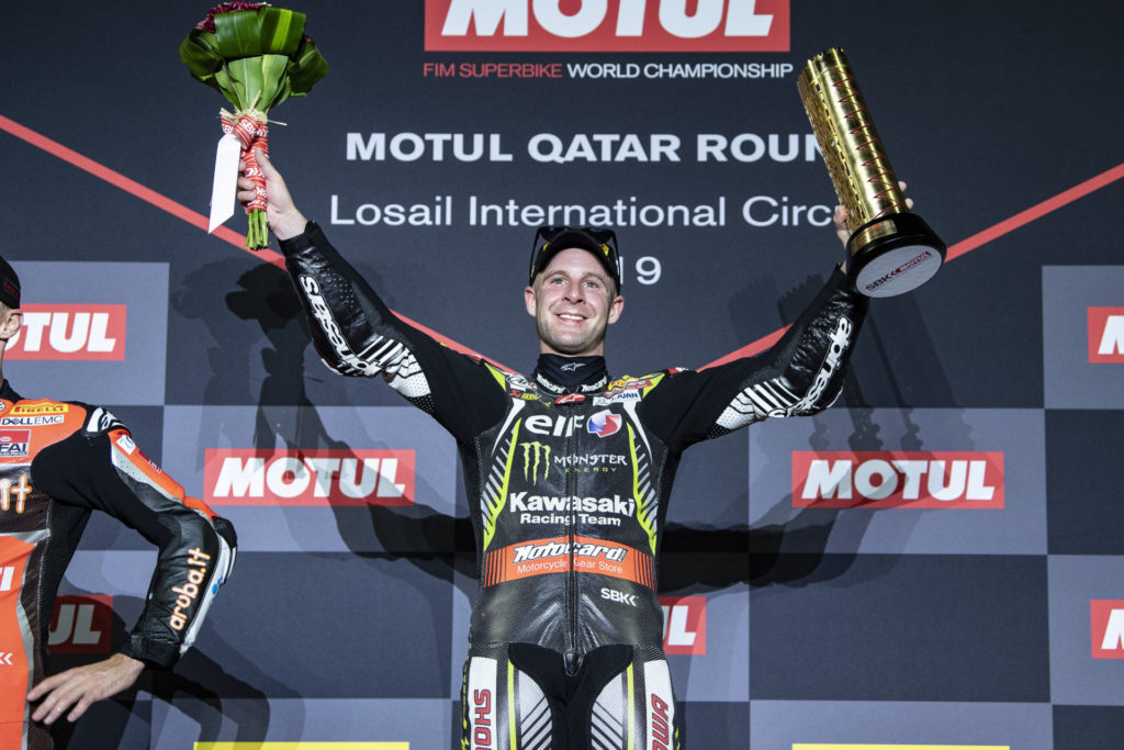 Jonathan Rea on top of the podium in Qatar. Photo courtesy of Kawasaki.