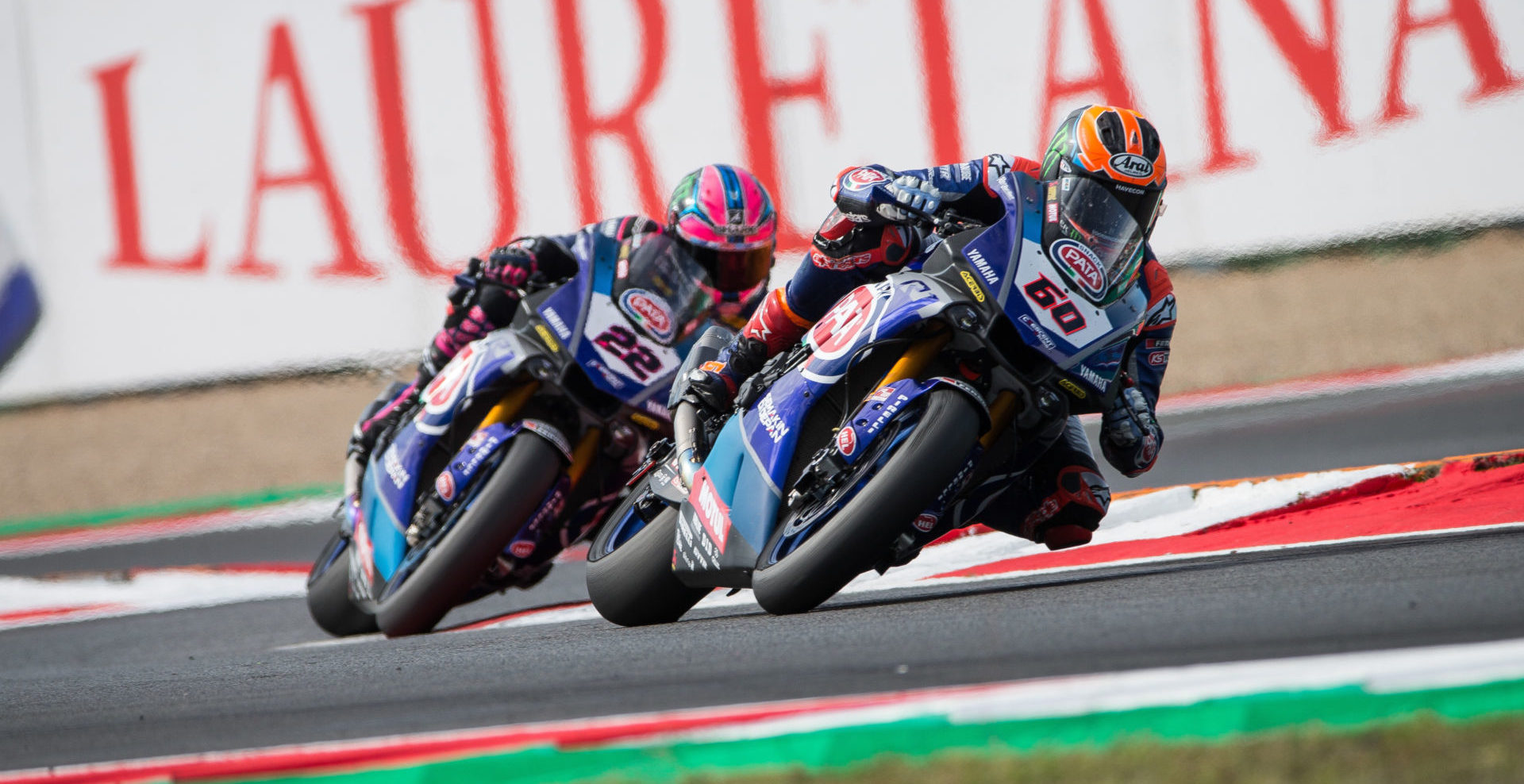Pata Yamaha's Michael van der Mark (60) and Alex Lowes (22) in action.