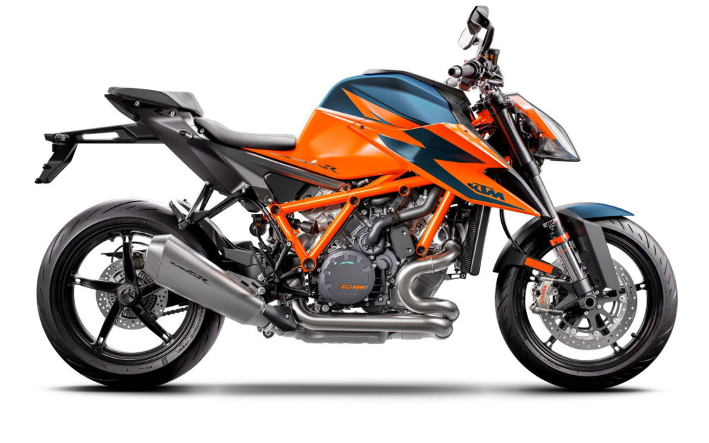 A 2020-model KTM 1290 Super Duke R at rest. Photo courtesy of KTM.