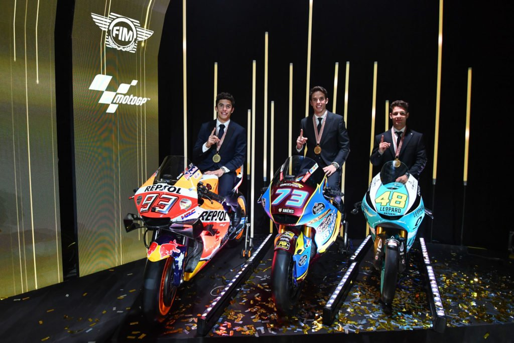 (From left) 2019 MotoGP World Champion Marc Marquez, 2019 Moto2 World Champion Alex Marquez, and 2019 Moto3 World Champion Lorenzo Dalla Porta with their bikes on stage at the 2019 FIM MotoGP Awards Ceremony in Spain. Photo courtesy of Dorna/www.motogp.com.