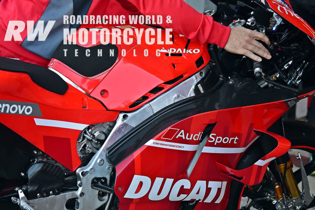 (Above and Below) Ducati had different chassis on hand. Note the variations in welds along the spar. Photo by Michael Gougis.