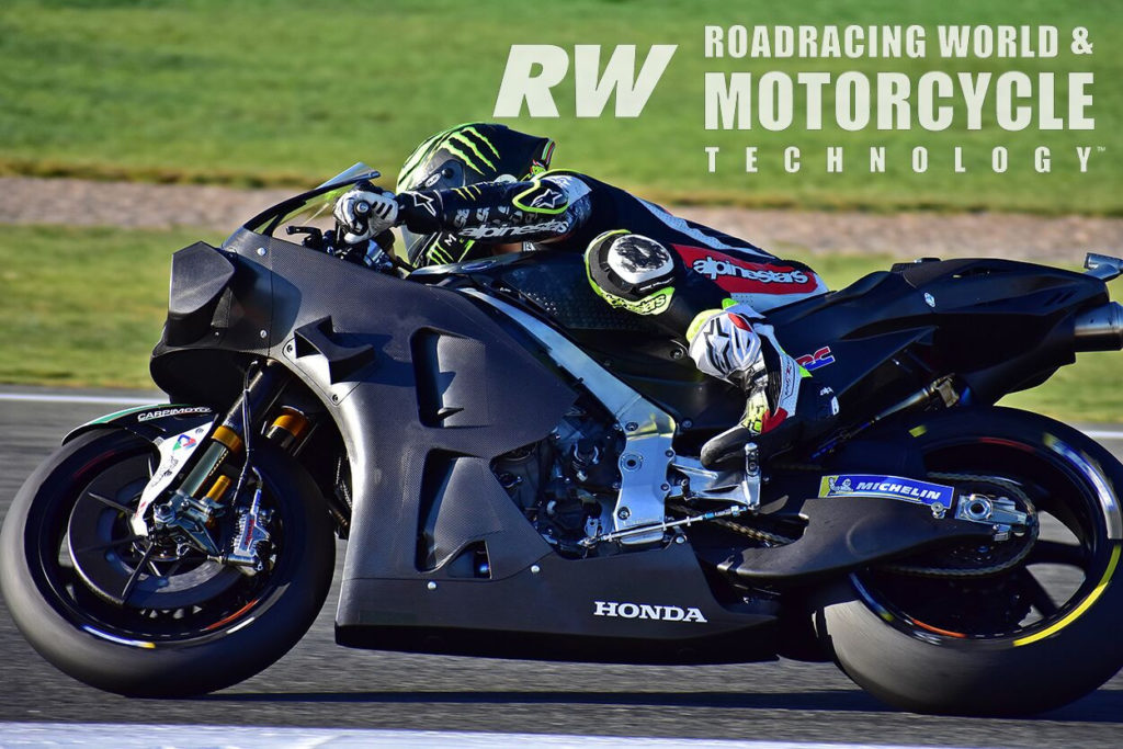 (Above) HRC tried a revised upper wing for the RC213V. Cal Crutchlow put in most of the miles with the new configuration. Photo by Michael Gougis.
