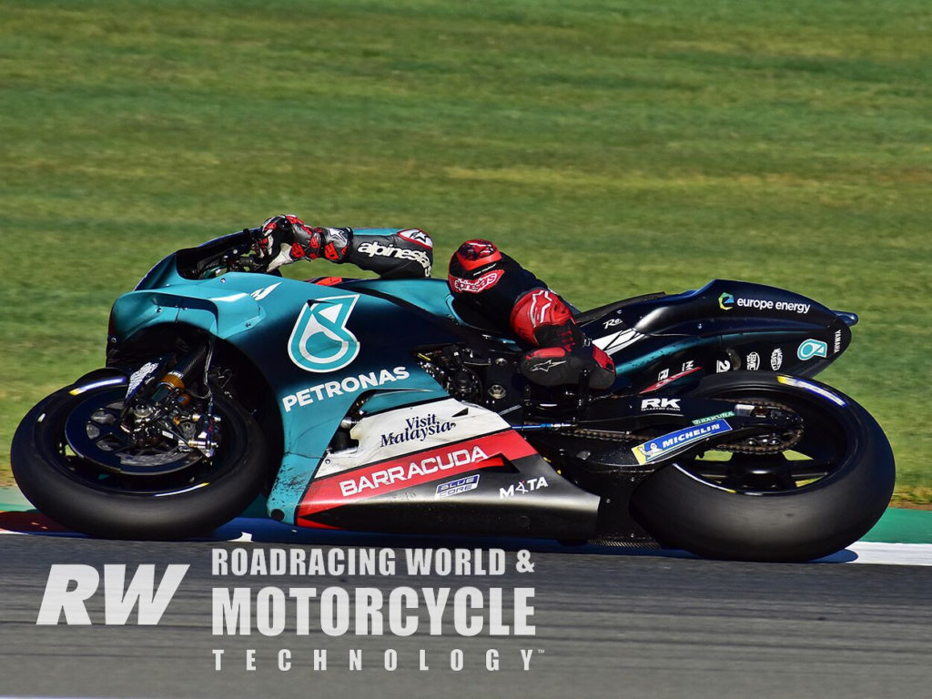 (Above) Fabio Quartararo tried factory aero, and preferred the hybrid aluminum/carbon-fiber swingarm he ran in 2019. Photo by Michael Gougis.