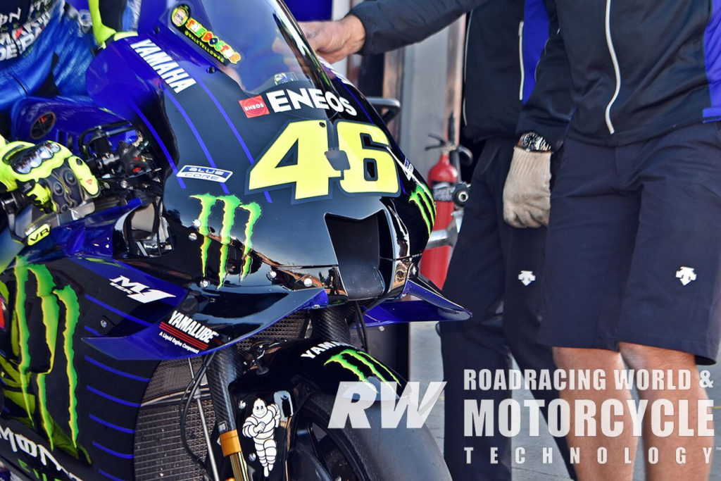 (Above) The upper fairing of the Yamaha YZR-M1 featured a modified air intake that was narrower and taller than the previous iteration. Photo by Michael Gougis.