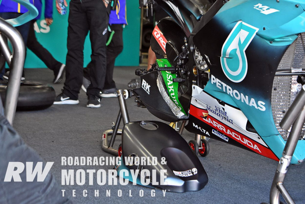 (Above and Below) Petronas Yamaha tested a full carbon-fiber swingarm against a hybrid carbon-braced aluminum swingarm. Photo by Michael Gougis.