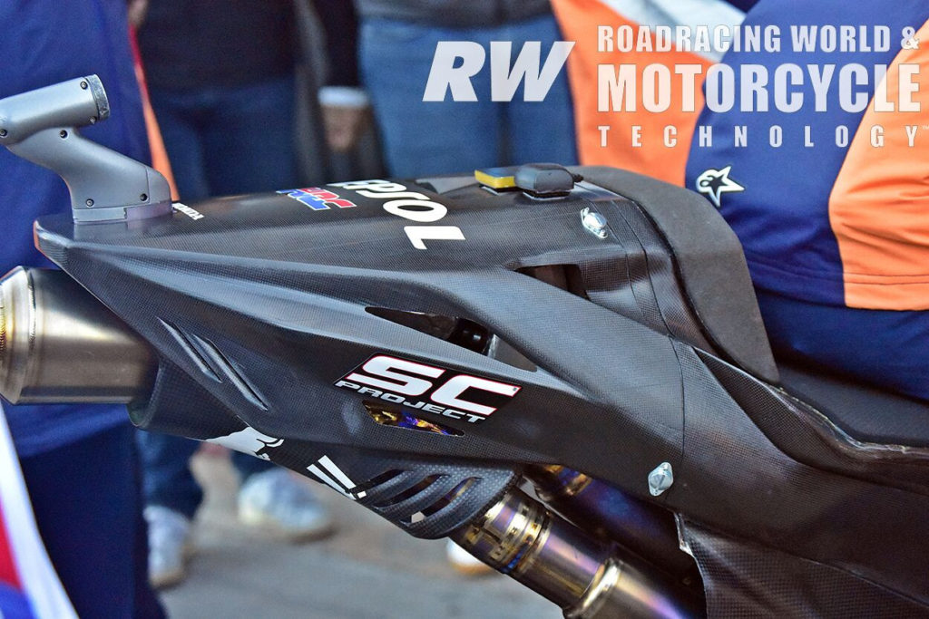 (Above) This prototype RC213V featured a revised tail section and a different exhaust system. Photo by Michael Gougis.
