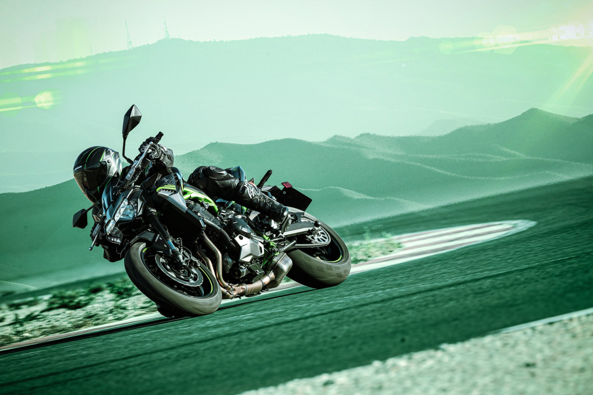 Kawasaki's new 2020 Z900 ABS at speed. Photo courtesy of Kawasaki Motors Corp., U.S.A.