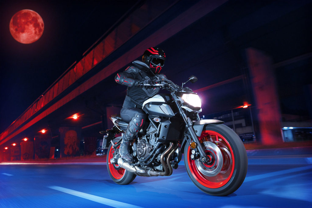 A 2020 Yamaha MT-07 in the Ice Fluo color scheme. Photo courtesy of Yamaha Motor Corp., U.S.A.