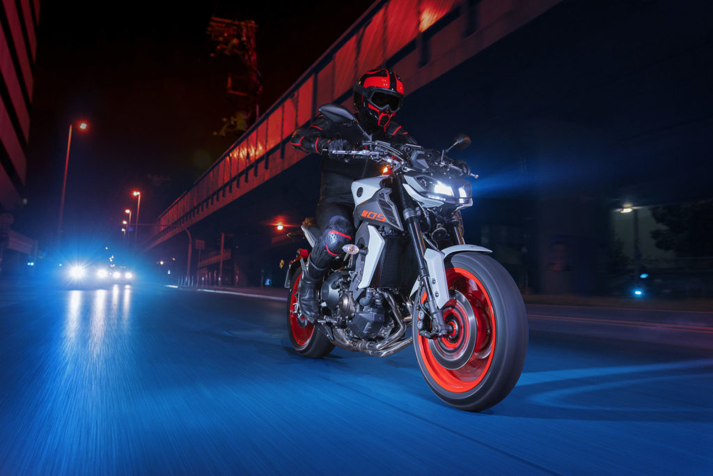 A 2020 Yamaha MT-09 in the Ice Fluo color scheme. Photo courtesy of Yamaha Motor Corp., U.S.A.