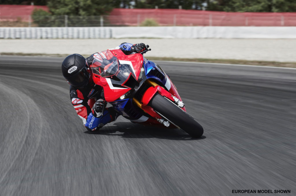 Honda's new 2020 CBR1000RR-R at speed. Photo courtesy of American Honda.