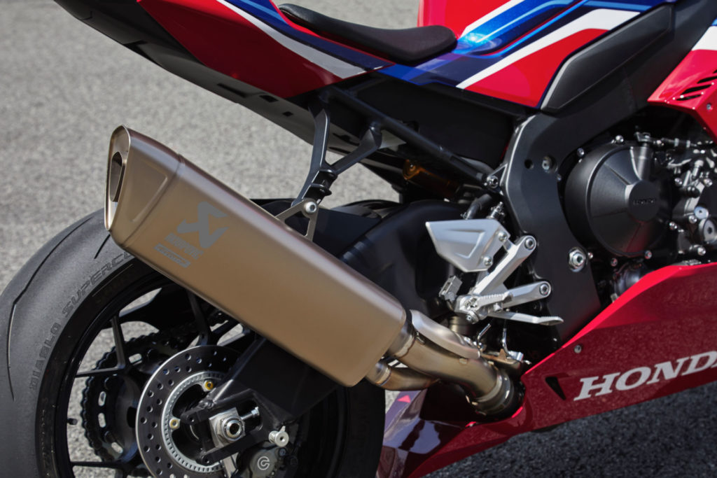 Honda's new 2020 CBR1000RR-R with its new titanium Akrapovic muffler. Photo courtesy of American Honda.