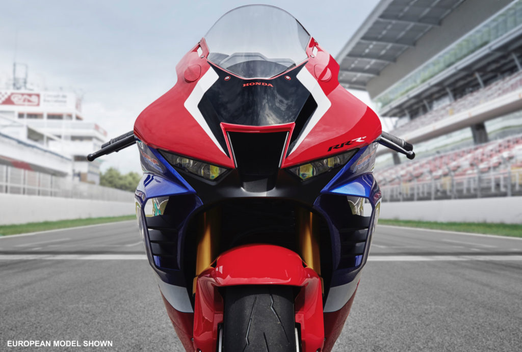Honda's new 2020 CBR1000RR-R with the aerodynamic winglets visible. Photo courtesy of American Honda.