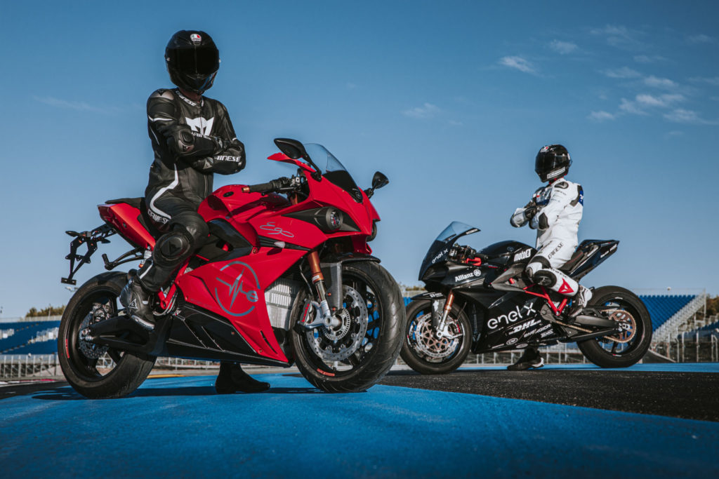 An Energica Ego+ (left) and an Ego Corsa racebike (right). Photo by Marcello Mannoni, courtesy of Energica.