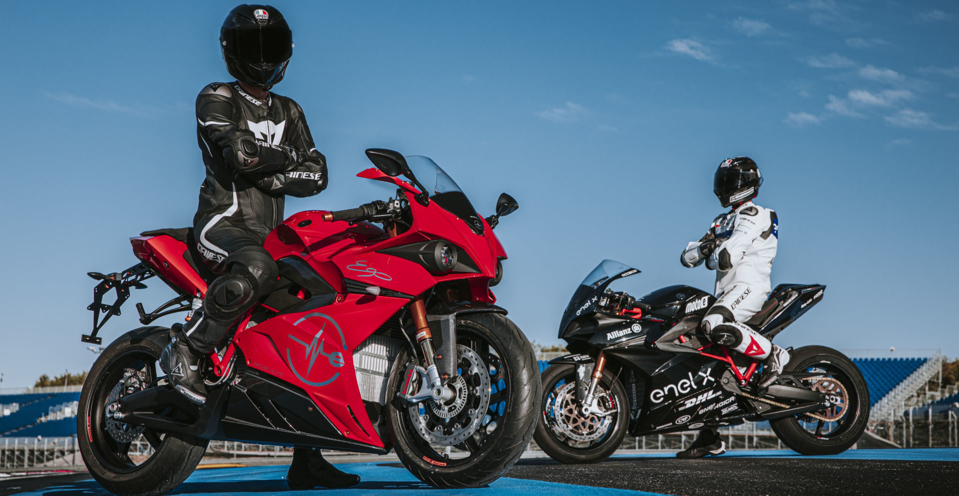 An Energica Ego+ (left) and Ego Corsa racebike (right). Photo by Marcello Mannoni, courtesy of Energica.