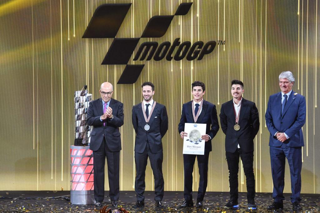 (From left) Dorna CEO Carmelo Ezpeleta, Andrea Dovizioso, 2019 MotoGP World Champion Marc Marquez, Maverick Vinales, and FIM President Jorge Viegas at the 2019 FIM MotoGP Awards Ceremony in Spain. Photo courtesy of Dorna/www.motogp.com.
