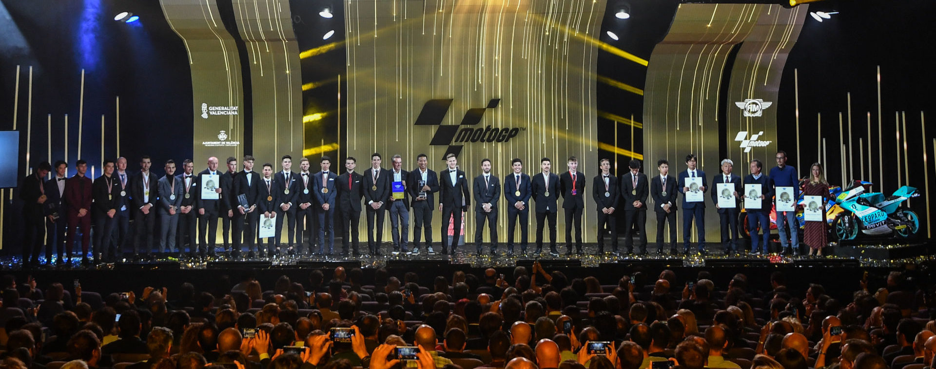 Honorees on stage at the 2019 FIM MotoGP Awards Ceremony in Spain. Photo courtesy of Dorna/www.motogp.com.