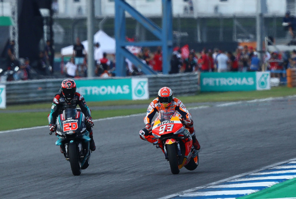 Fabio Quartararo (20) battled Marc Marquez (93) for first places in several races in 2019. Photo courtesy of PETRONAS Yamaha SRT.
