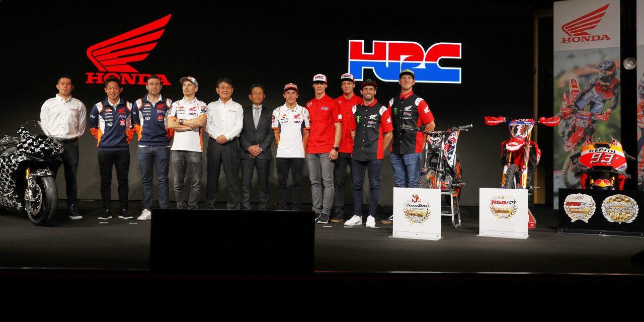 Honda executives and racers on stage at EICMA. Photo courtesy of Honda Pro Racing.