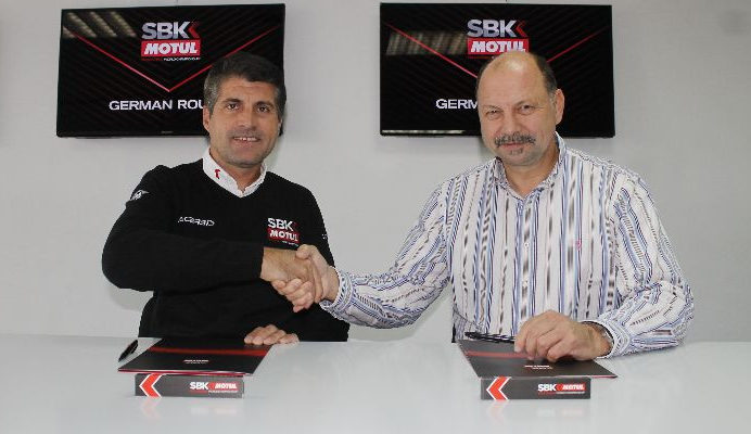 Gregorio Lavilla, WorldSBK Executive Director, Sporting and Organization Departments (left) and Ralph Bohnhorst, Executive Director of Motorsport Arena Oschersleben (right). Photo courtesy of Dorna WorldSBK Press Office.