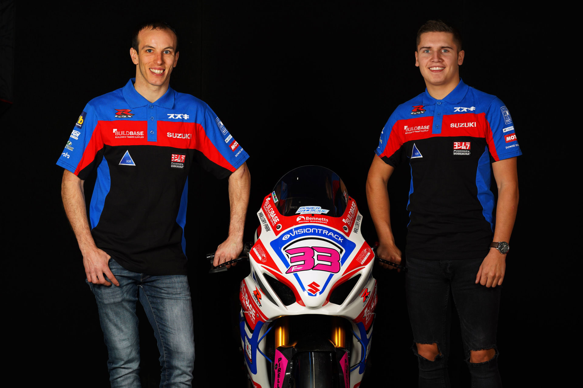 Buildbase Suzuki riders Keith Farmer (left) and Kyle Ryde (right). Photo courtesy of Buildbase Suzuki.