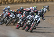 Action from an AFT Twins heat race in Springfield, Illinois. Photo by Scott Hunter, courtesy of American Flat Track.