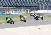 Action from an ASRA SportBike race at Daytona International Speedway. Photo by Brian J. Nelson.