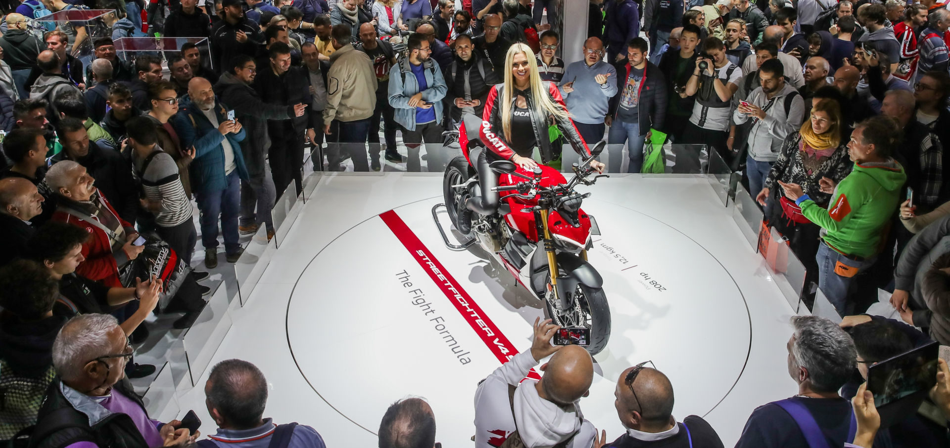 A Ducati Streetfighter V4 S on display at the EICMA show in Milan, Italy. Photo courtesy of Ducati.