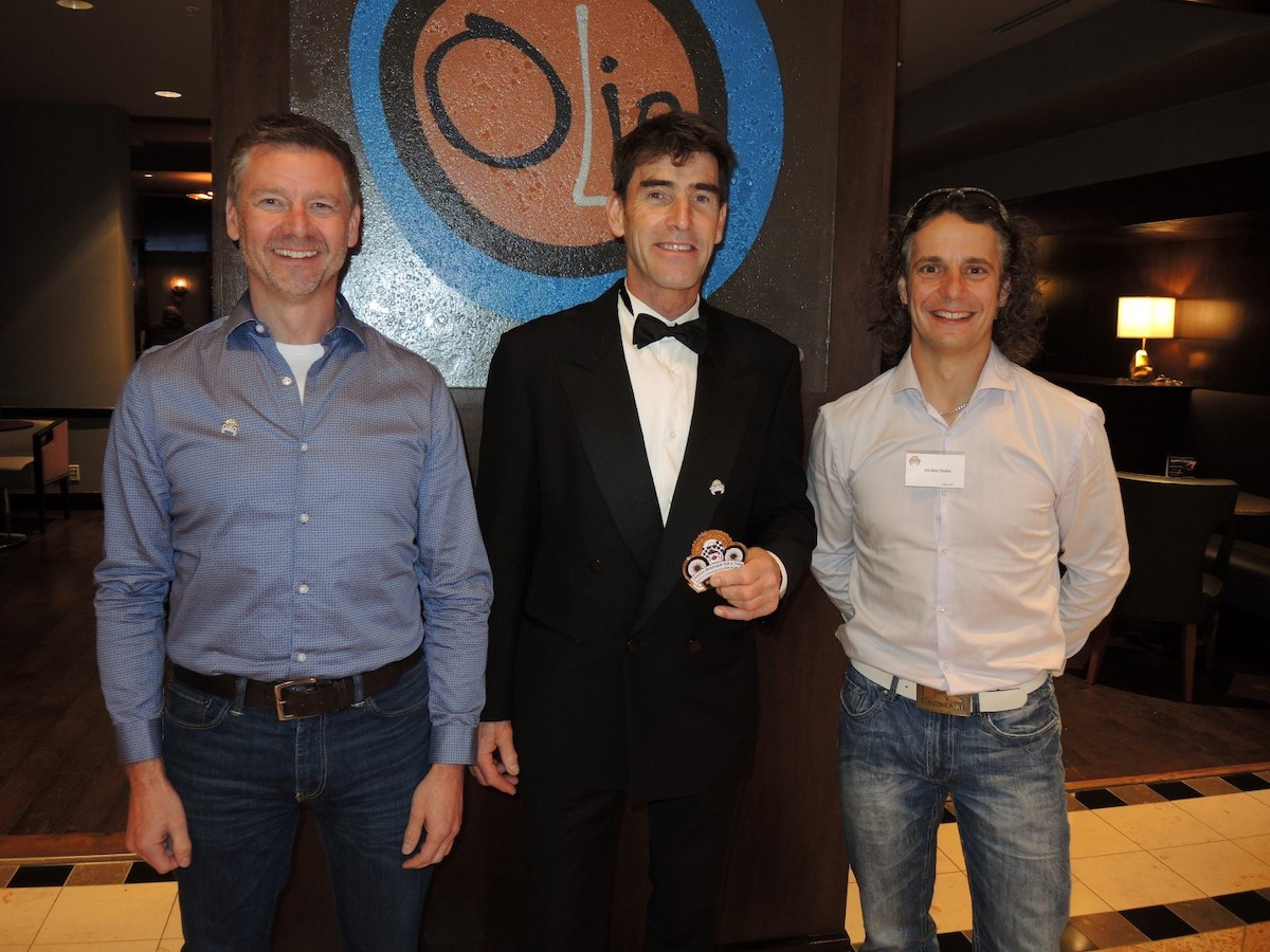 At the 14th annual Canadian Motorcycle Hall of Fame event in Toronto on Saturday evening, November 2, newly inducted member Michael Taylor (center) is joined by two-time CSBK overall National Champ Don Munroe (left), class of 2006, and 13-time Canadian National Superbike Champ Jordan Szoke (right). Photo by Colin Fraser, courtesy of PMP.