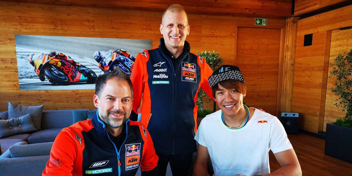 Red Bull KTM Ajo Moto2 racing team's Jens Hainbach (left) and Aki Ajo (center) with rider Tetsuta Nagashima (right). Photo courtesy of KTM.