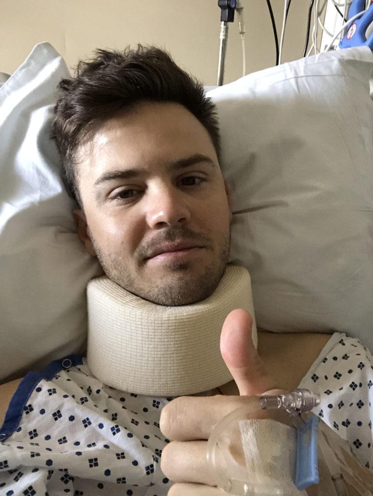 Kyle Wyman, post-surgery. Photo courtesy of Kyle Wyman.