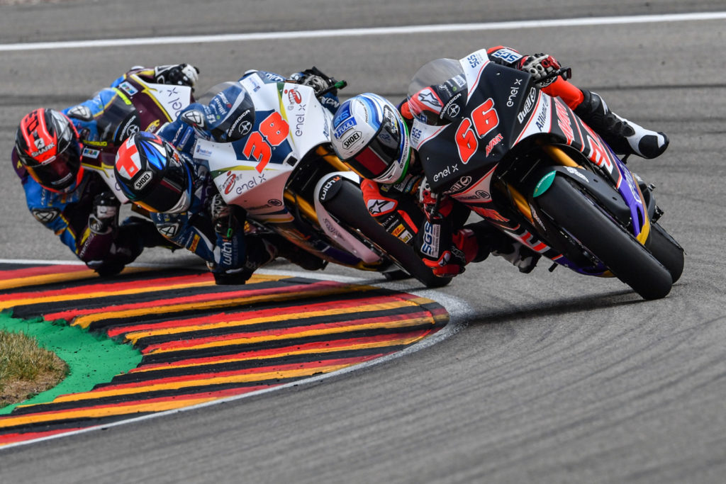 Action from the start of the FIM MotoE World Cup race at Sachsenring. Photo courtesy of Energica.
