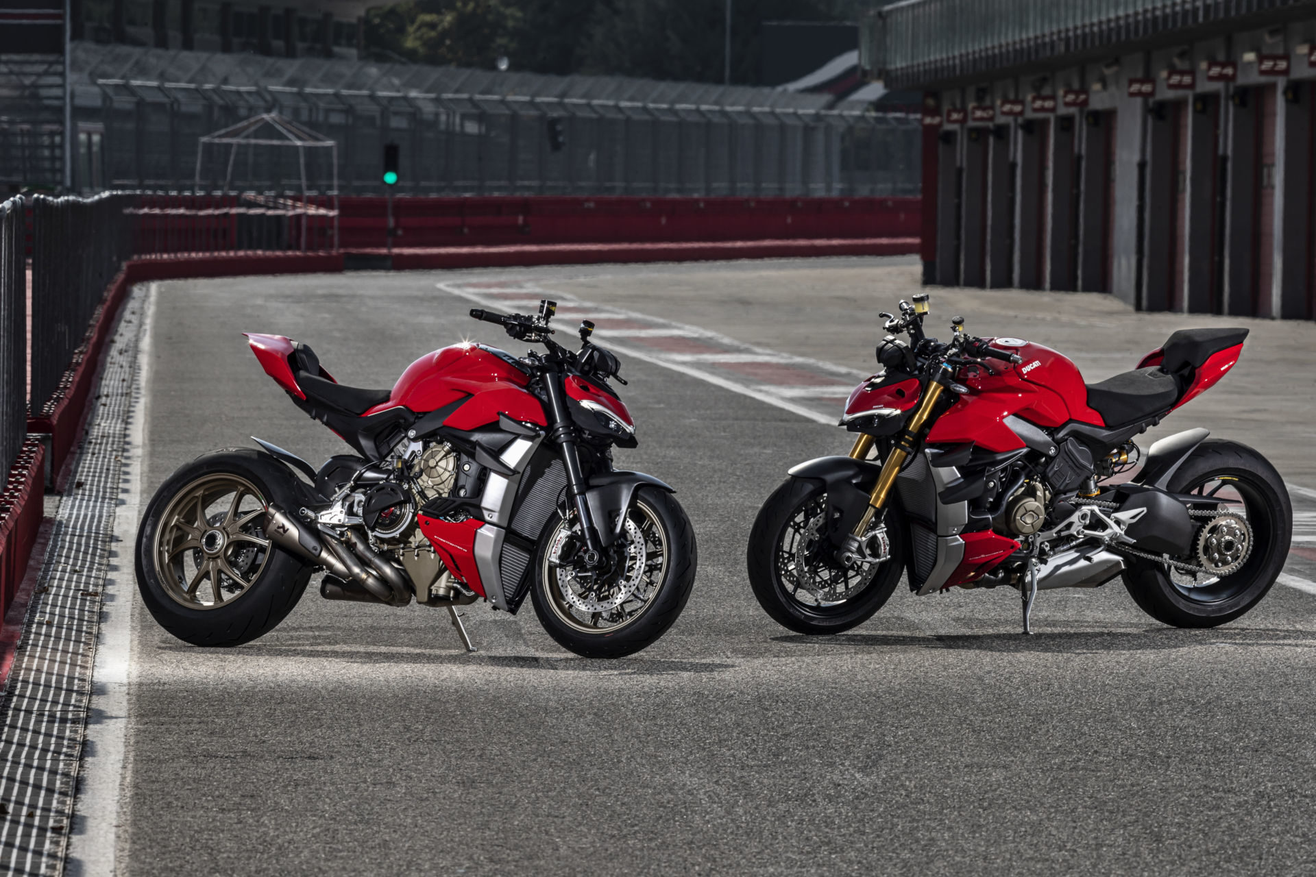 A 2020 Ducati Streetfighter V4 (left) and V4 S (right). Photo courtesy of Ducati North America.