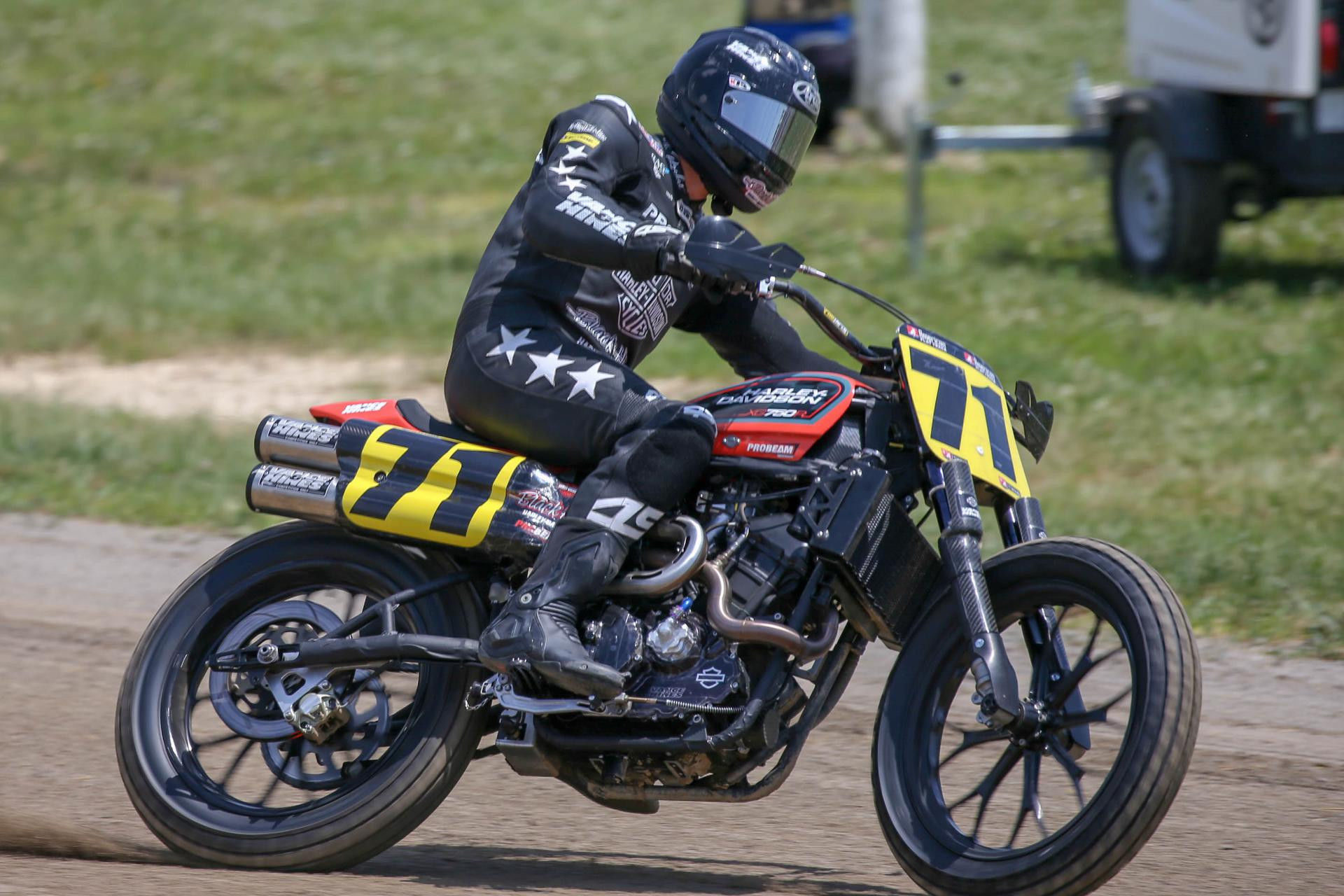 James Rispoli (71) at speed on a Harley-Davidson XG750R. Photo by Scott Hunter, courtesy of American Flat Track.