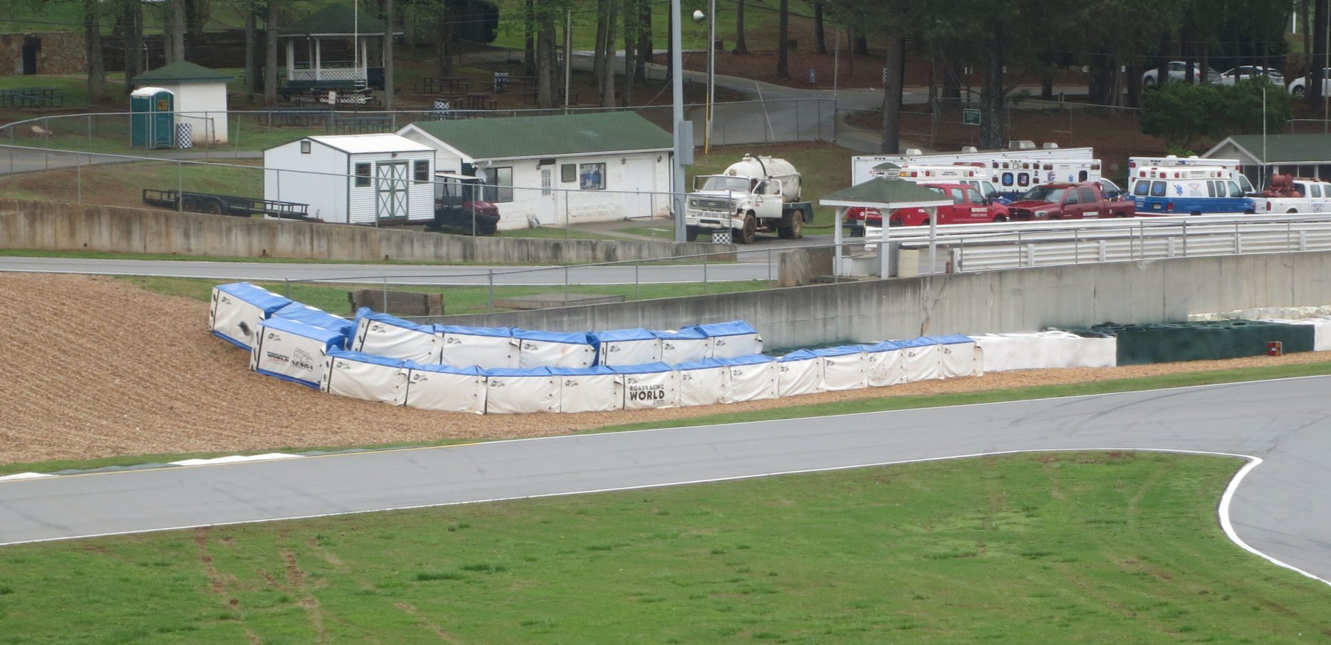 Soft barriers purchased by the Roadracing World Action Fund deployed at the exit of Turn 12 at Road Atlanta. Photo courtesy of MotoAmerica.