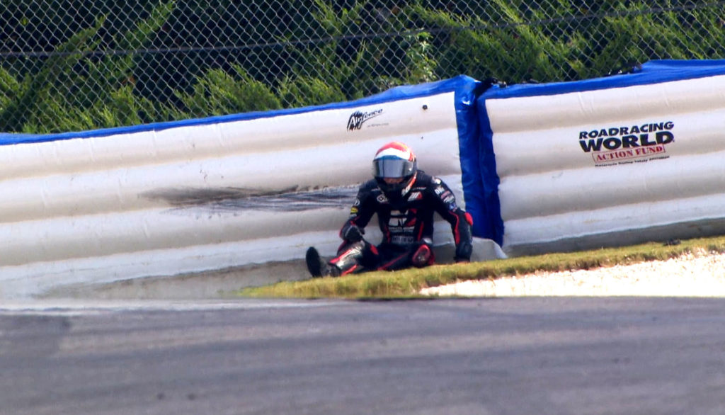 Kyle Wyman, after crashing into Roadracing World Action Fund Airfence at 104 mph in Turn One at Barber Motorsports Park. Photo courtesy of beIN SPORTS USA.