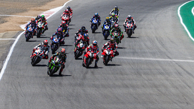 The World Superbike field, including American Garrett Gerloff, will not be seen charging down into Turn Two at WeatherTech Raceway Laguna Seca in 2020. Photo courtesy of Dorna WorldSBK Press Office.