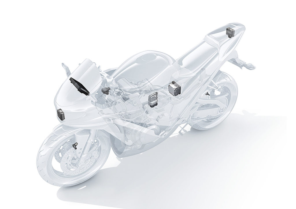 An illustration of Bosch Advanced Rider Assistance System components. Image courtesy of Kawasaki UK.