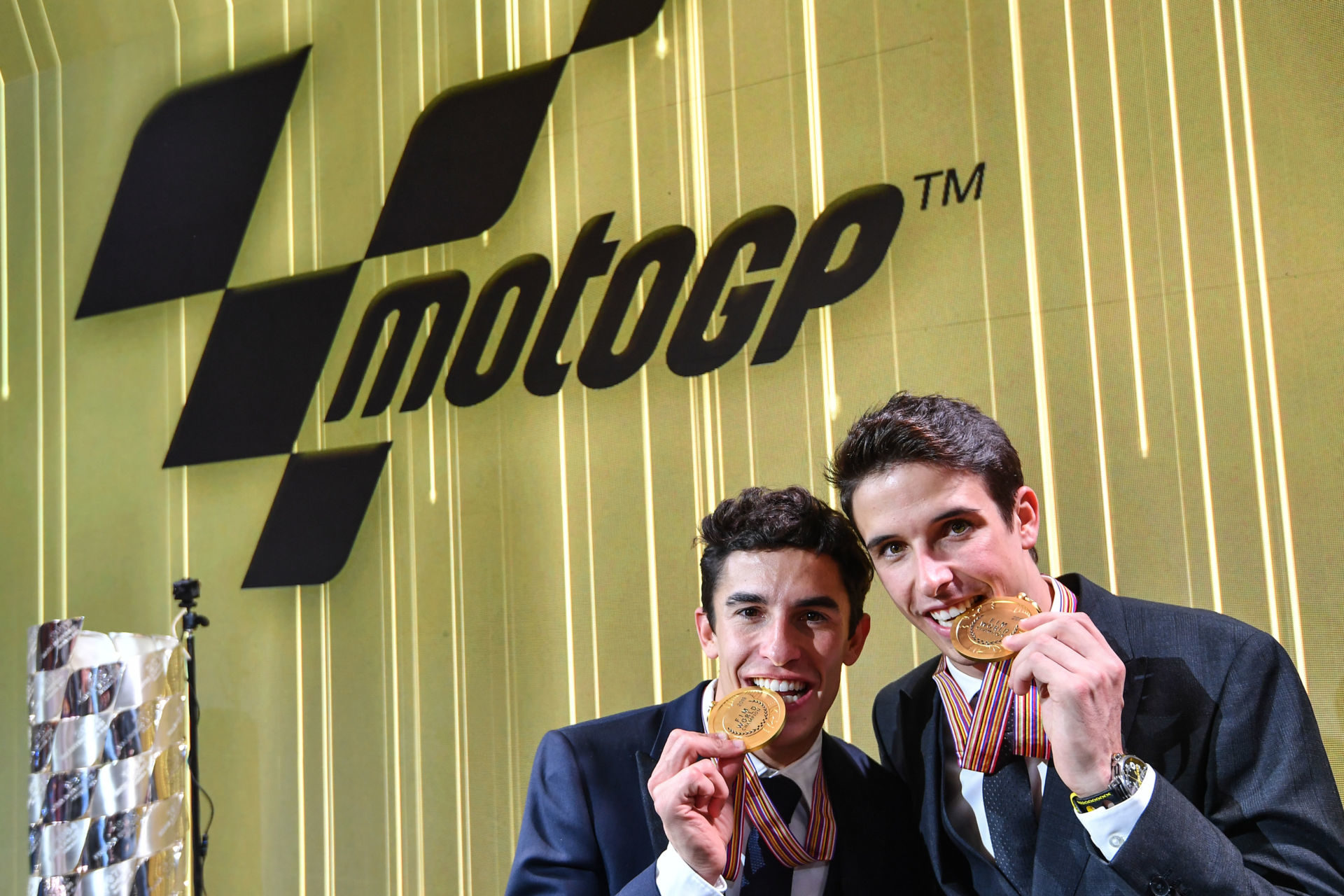 Brothers Marc Marquez (left) and Alex Marquez (right) will be teammates at Repsol Honda for the 2020 MotoGP World Championship. Photo courtesy of Dorna/www.motogp.com.