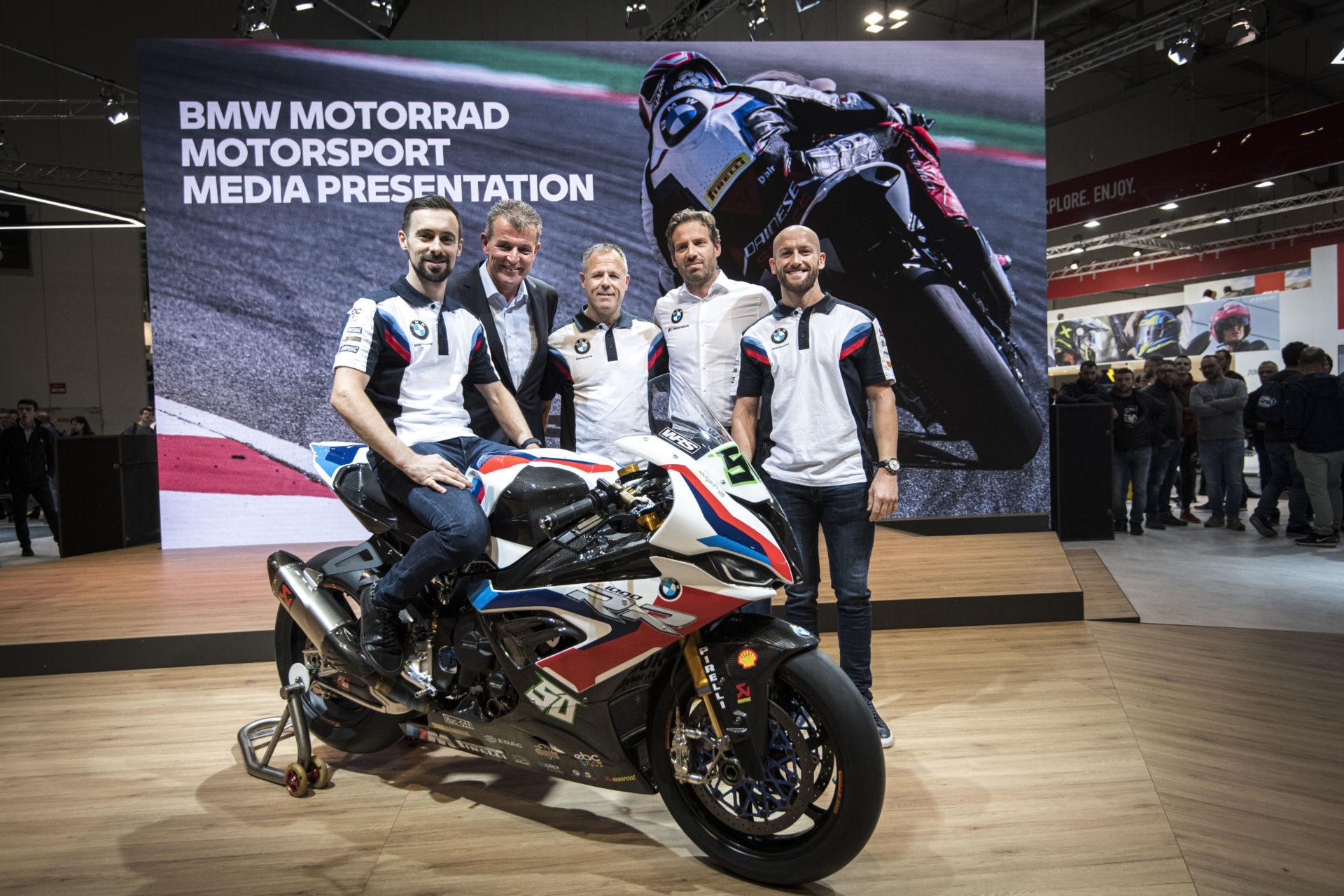 (From left) Eugene Laverty; Dr. Markus Schramm, Head of BMW Motorrad; BMW Motorrad WorldSBK Team Principal Shaun Muir; Marc Bongers, BMW Motorrad Motorsport Director; and Tom Sykes at EICMA. Photo courtesy of BMW Motorrad Motorsport.