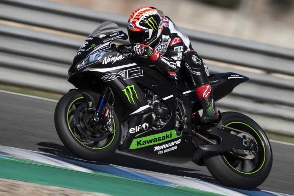 Jonathan Rea in action at Jerez. Photo courtesy of Kawasaki.