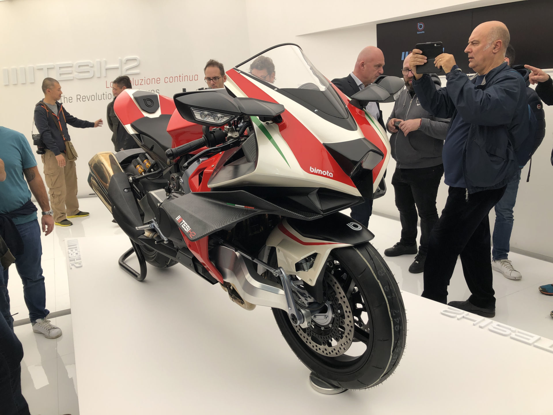 A Bimota Kawasaki TESI H2 Concept bike on display at the EICMA show in Milan, Italy. Photo courtesy of Kawasaki UK.
